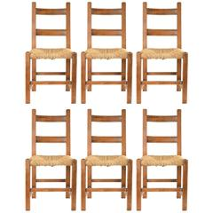 19th Century Rustic Belgian Handcrafted Ladder Back Chair Set