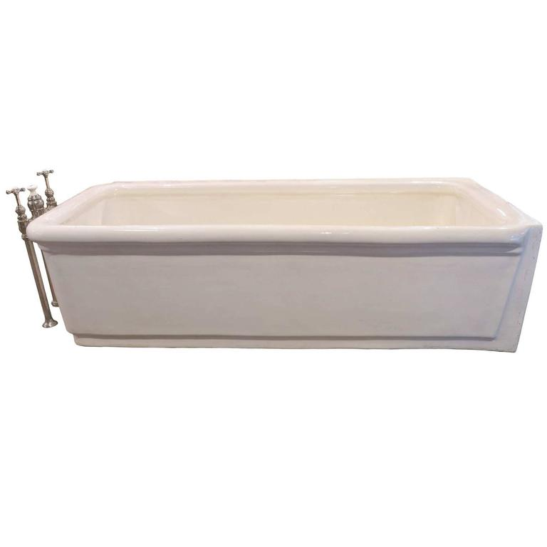 Pristine porcelain bathtub with original nickel plated for Waterworks copper tub
