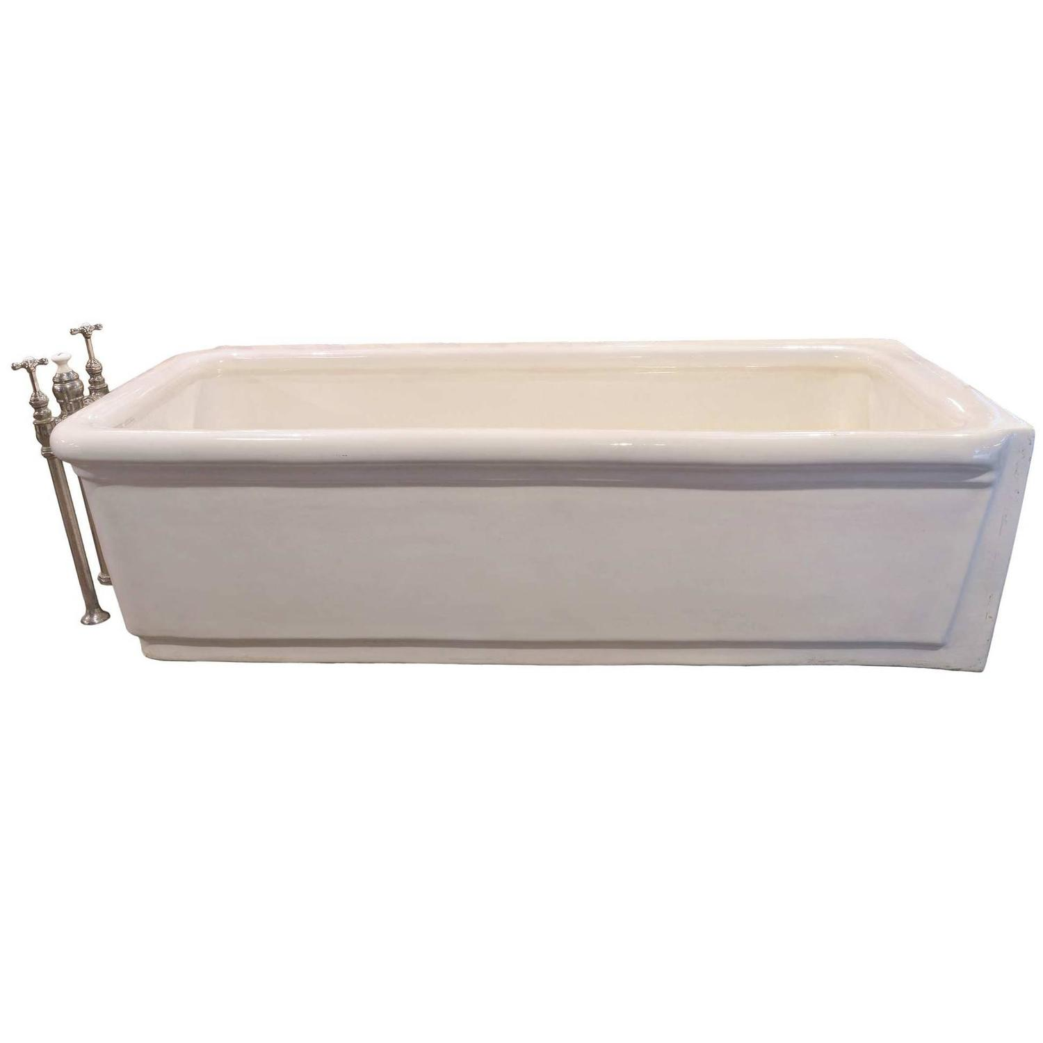 Pristine porcelain bathtub with original nickel plated for Porcelain bathtubs for sale