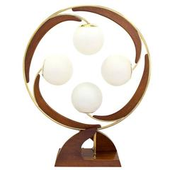 Very Unusual Circular Shape Table Lamp Four Frosrted Glass Shades Globes