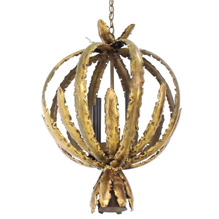 "Brutalist Circular ""Bouquet"" Pendant Light Fixture For Sale"