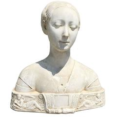 19th/20th Century Large Female Plaster Bust, circa 1850
