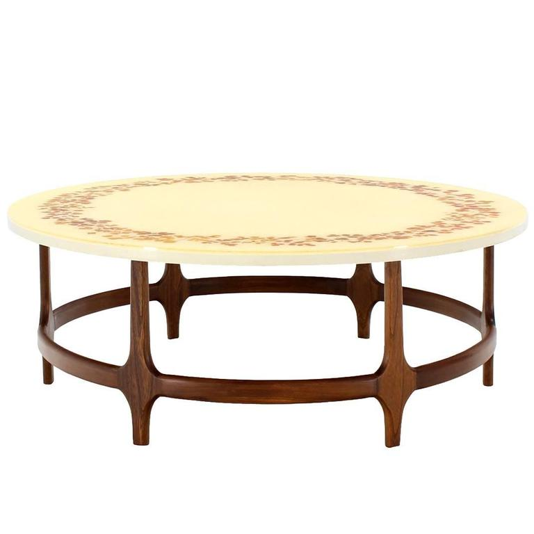 Decorative Mid Century Modern Walnut Base Round Coffee Table For Sale At 1stdibs