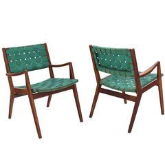 Pair of Mid-Century Modern Oiled Walnut Frames Armchairs