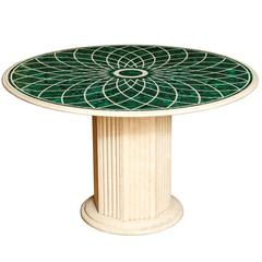Round Veneered Malachite and Marble Center Table