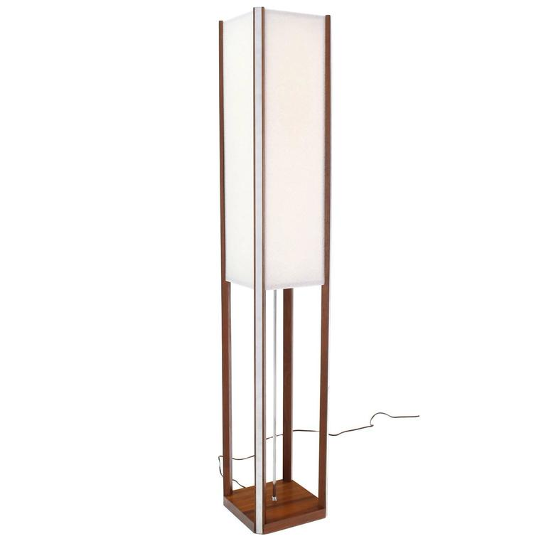 Walnut Square Tower Shape Mid Century Modern Floor Lamp