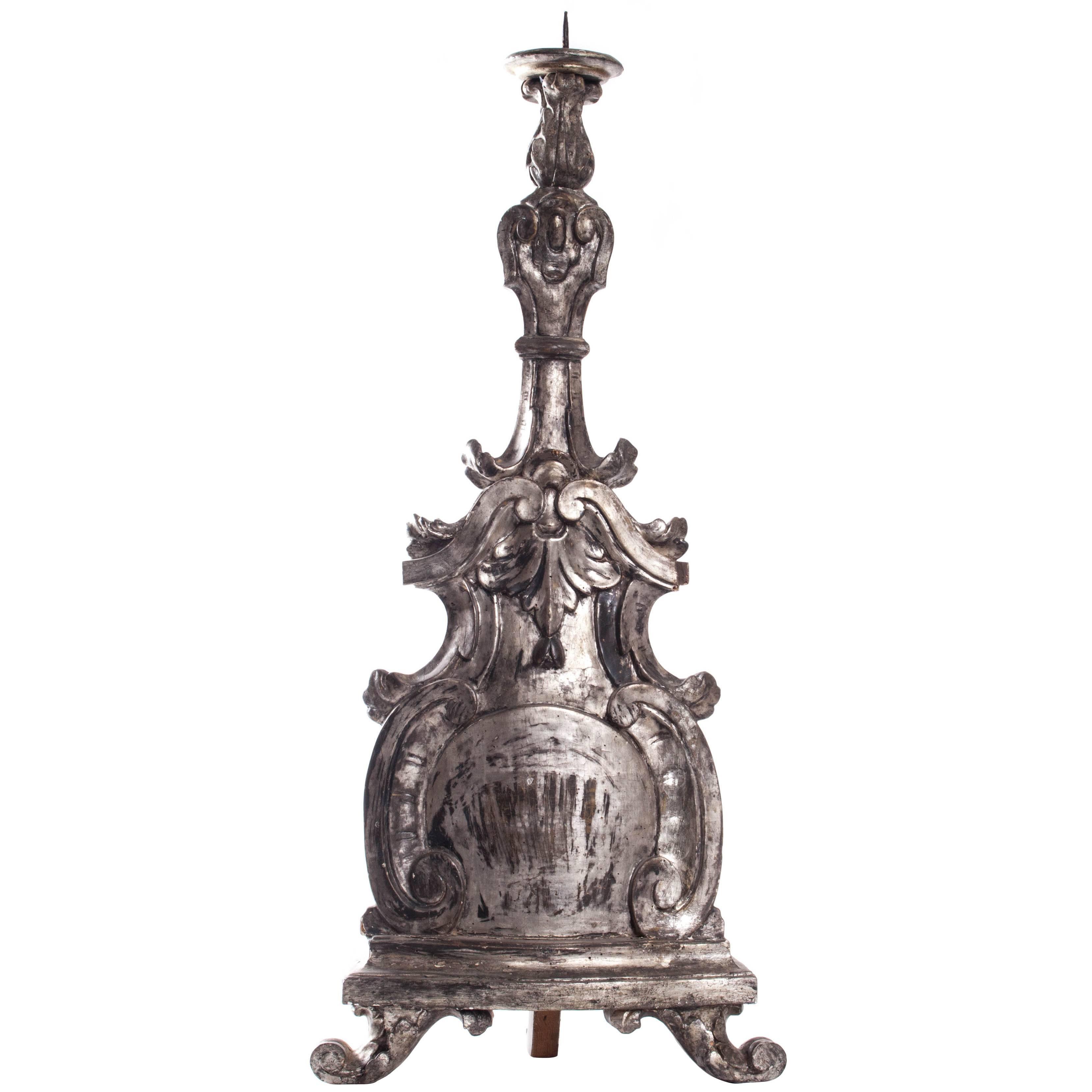 18th Century Italian Carved Giltwood Altar Stick