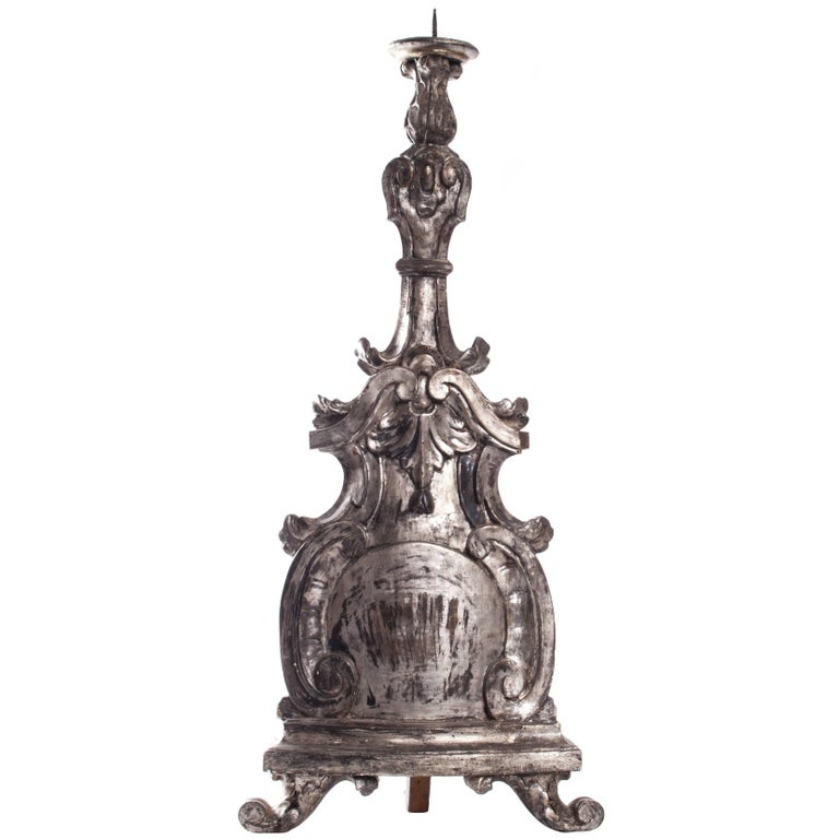 18th Century Italian Carved Giltwood Altar Stick For Sale