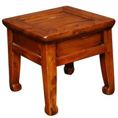 19th Century Q'ing Dynasty French Peachwood Stool with Slatted Bamboo Seat