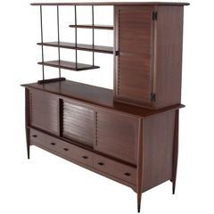 Mid-Century Modern Solid Wood Hutch Dresser
