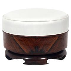 Asian Rosewood and Silk Stool