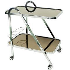 1970s Chrome and Mirror Bar Cart Trolley by Milo Baughman