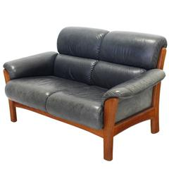 Leather and Solid Teak Mid Century Modern Danish Loveseat