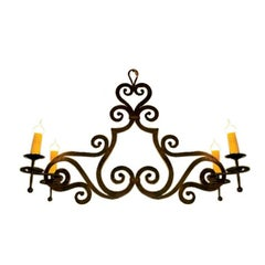 """Custom Hand-Forged Iron """"Hamilton"""" Chandelier with Flat Body and Four Arms."""
