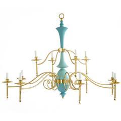 Large Brass Multi-Arm Chandelier