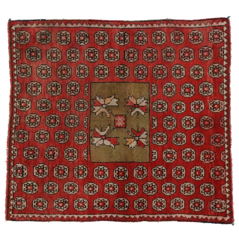 Antique Russian Karabagh Square Rug with Traditional Modern Style For Sale
