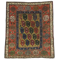 Antique Russian Dagestan Square Rug with Modern Style