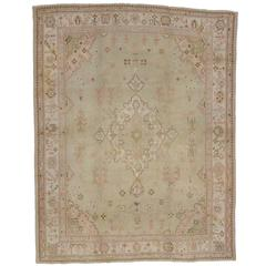 Antique Turkish Oushak Rug with English Country Charm