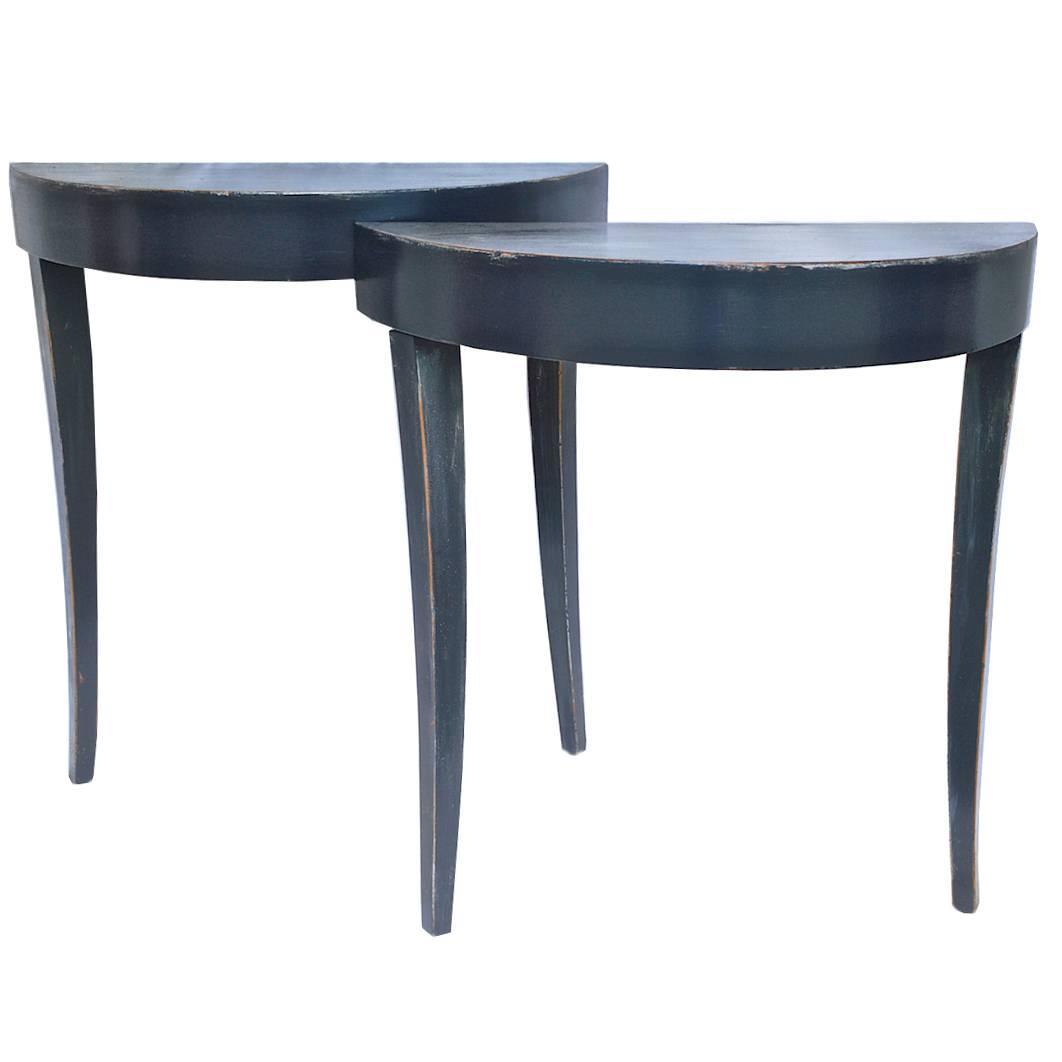 petite console pair in slate grey at 1stdibs. Black Bedroom Furniture Sets. Home Design Ideas