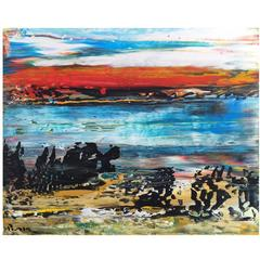 Abstract Landscape Matanzas Playa Acrylic on Canvas Painting Unframed