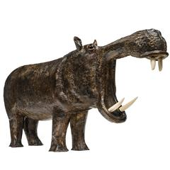 Hippopotamus Brass Patina Sculpture