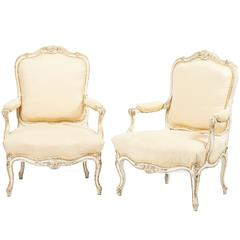 Pair of French Fauteuils in the Manner of Louis XV