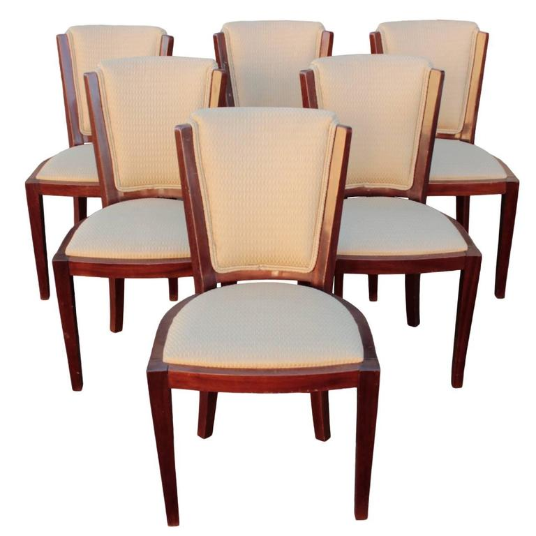 French Art Deco Period Set of Six Dining Chairs For Sale