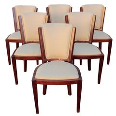French Art Deco Period Set Of Six Dining Chairs