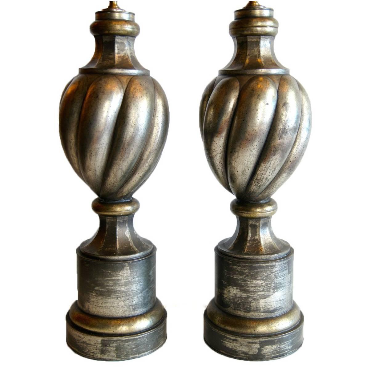 Pair of Metal Midcentury Table Lamps
