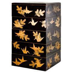 Antique Japanese Black Lacquer Obento Box with Gold Maki-e Decoration
