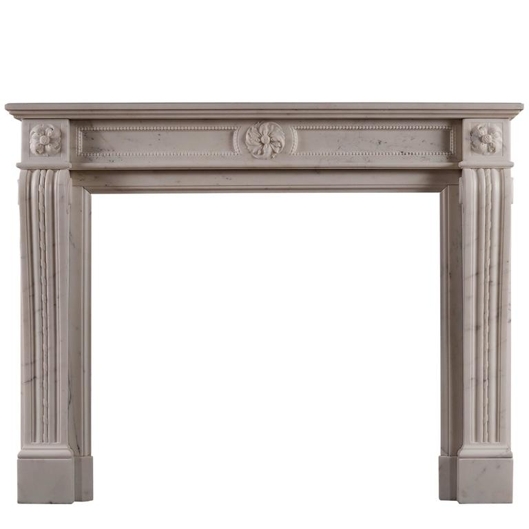 Statuary Marble Antique Fireplace in the Louis XVI Manner For Sale