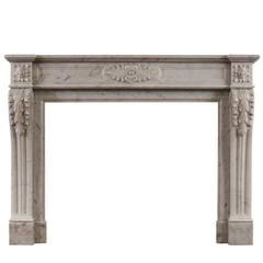 French Carrara Marble Fireplace in the Louis XVI Style