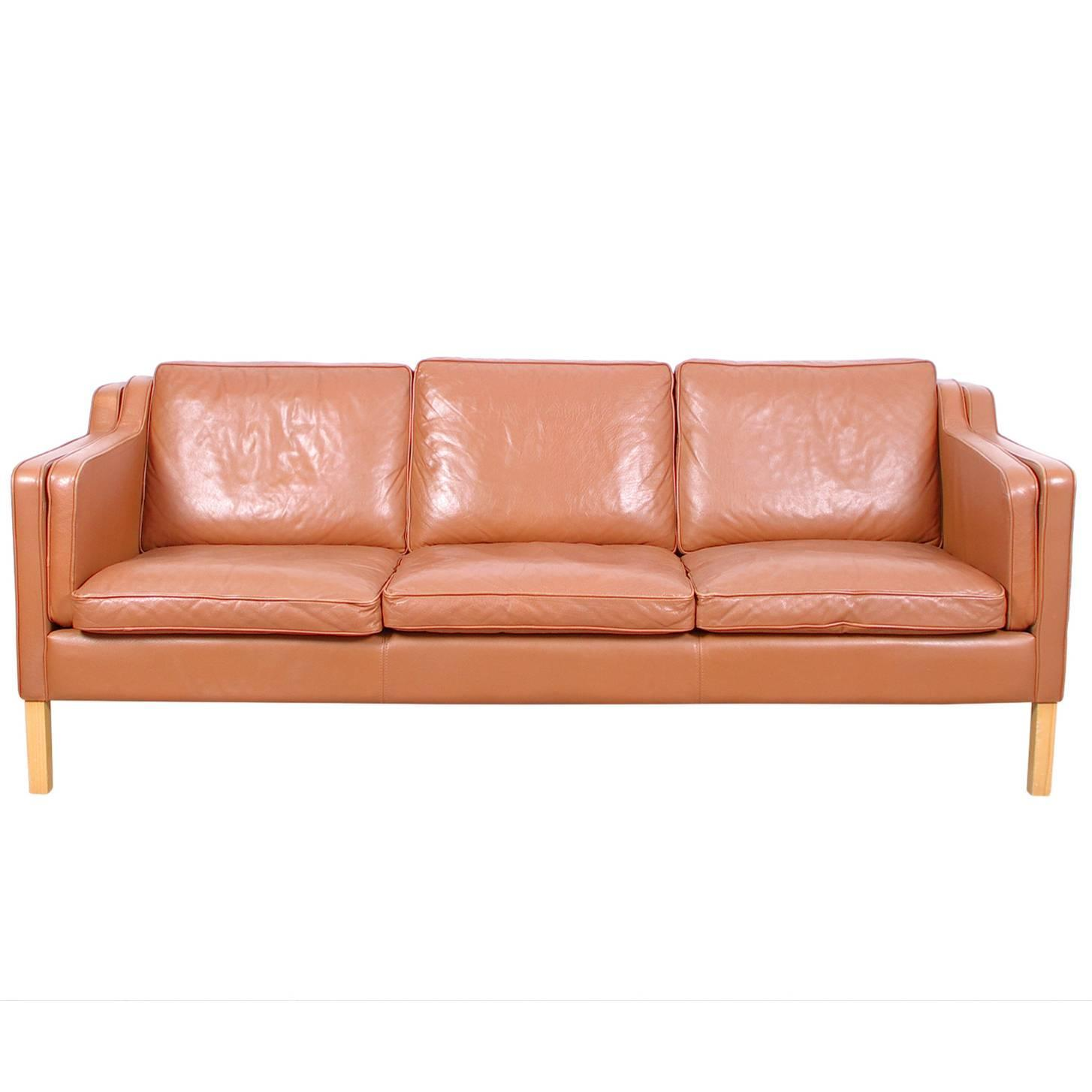 vintage danish leather three seat sofa by stouby at 1stdibs