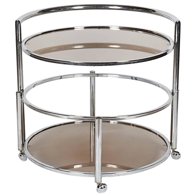 1970s Chrome Round Swivel Bar Cart with Smoked Glass