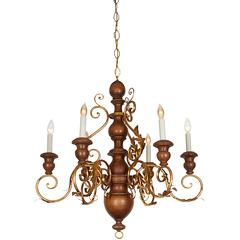 Mid-Century Six-Light Florentine Wood and Gilt Metal Chandelier