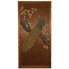Japanese Door with Peacock Painting, Late 19th-Early 20th Century