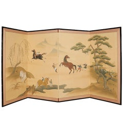 Japanese Early 20th Century Four-Panel Screen of Riders Taming Horses
