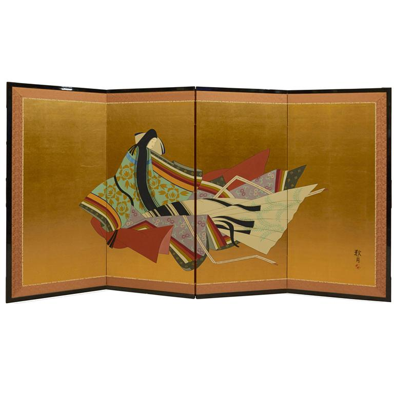 Japanese Four-Panel Screen with Young Lady, Showa Period