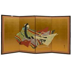 Japanese Showa Period Four-Panel Screen 'Tales Of Genji' With Lady Murasaki