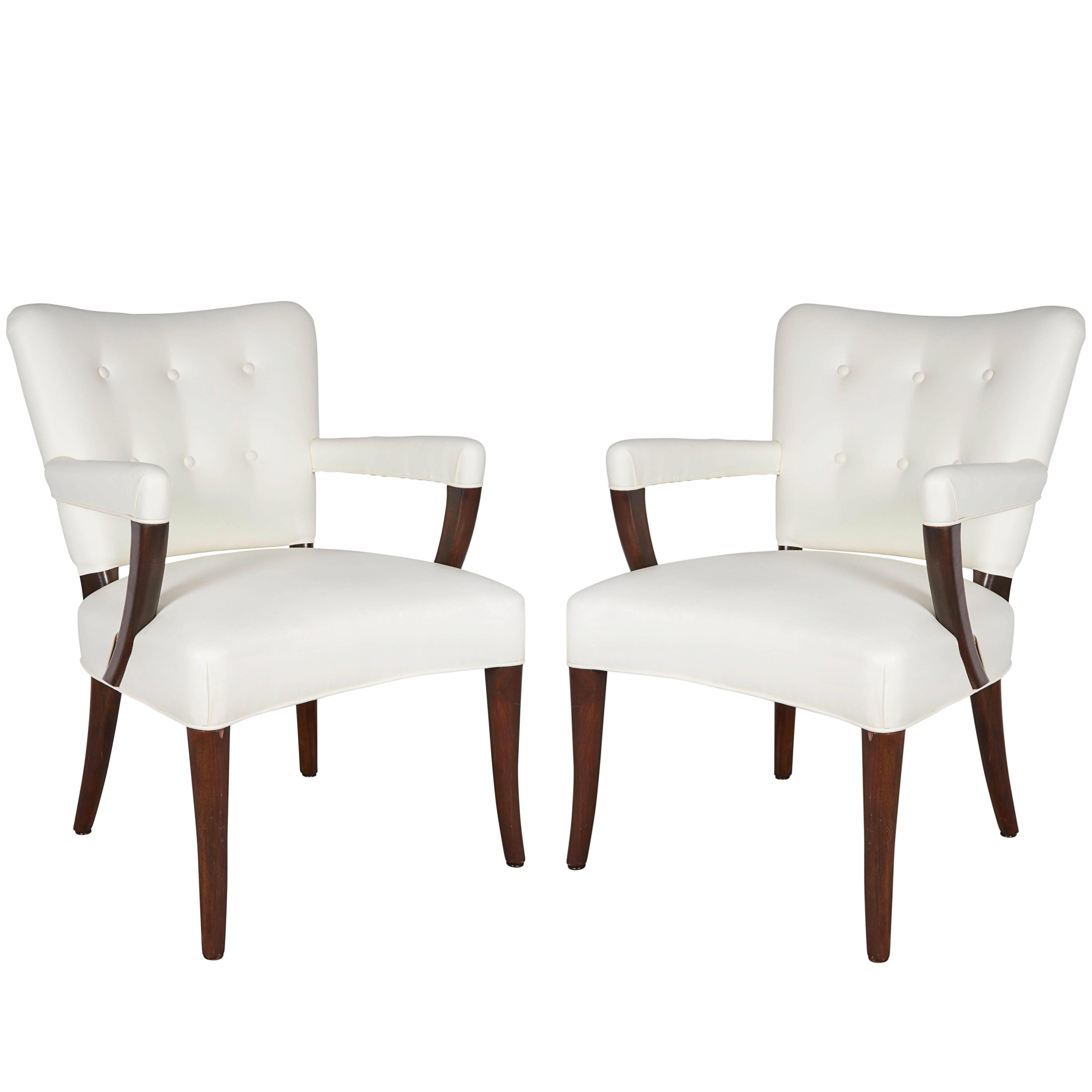 Pair of Stow Davis White Leather Armchairs