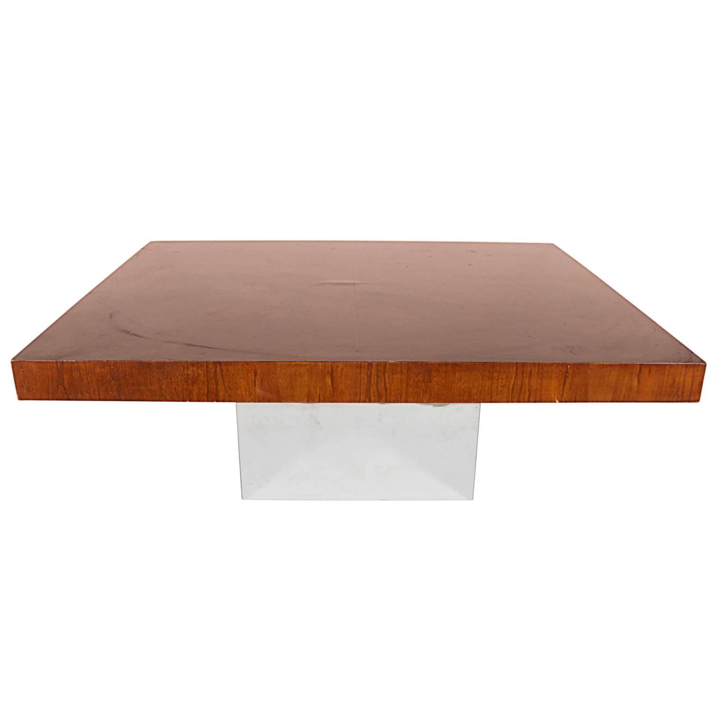 Walnut And Chrome Coffee Table: Milo Baughman Coffee And Cocktail Table In Walnut And