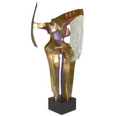R. Bery Abstract Sculpture 'Amazon' in Hand-Painted Bronze, Signed