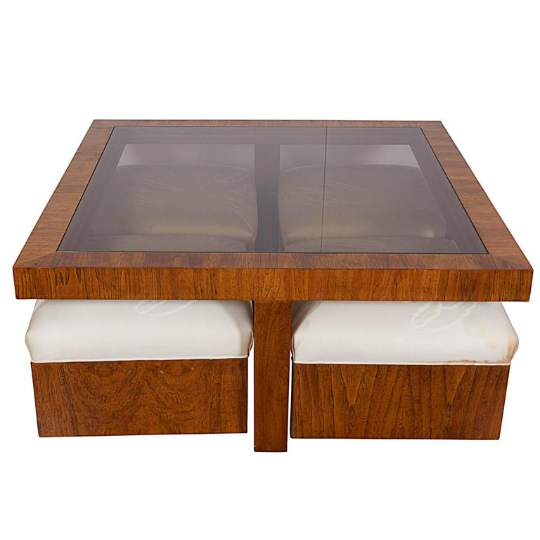 Superieur Drexel Consensus Collection Glass Top Cocktail Table With Four Ottomans For  Sale