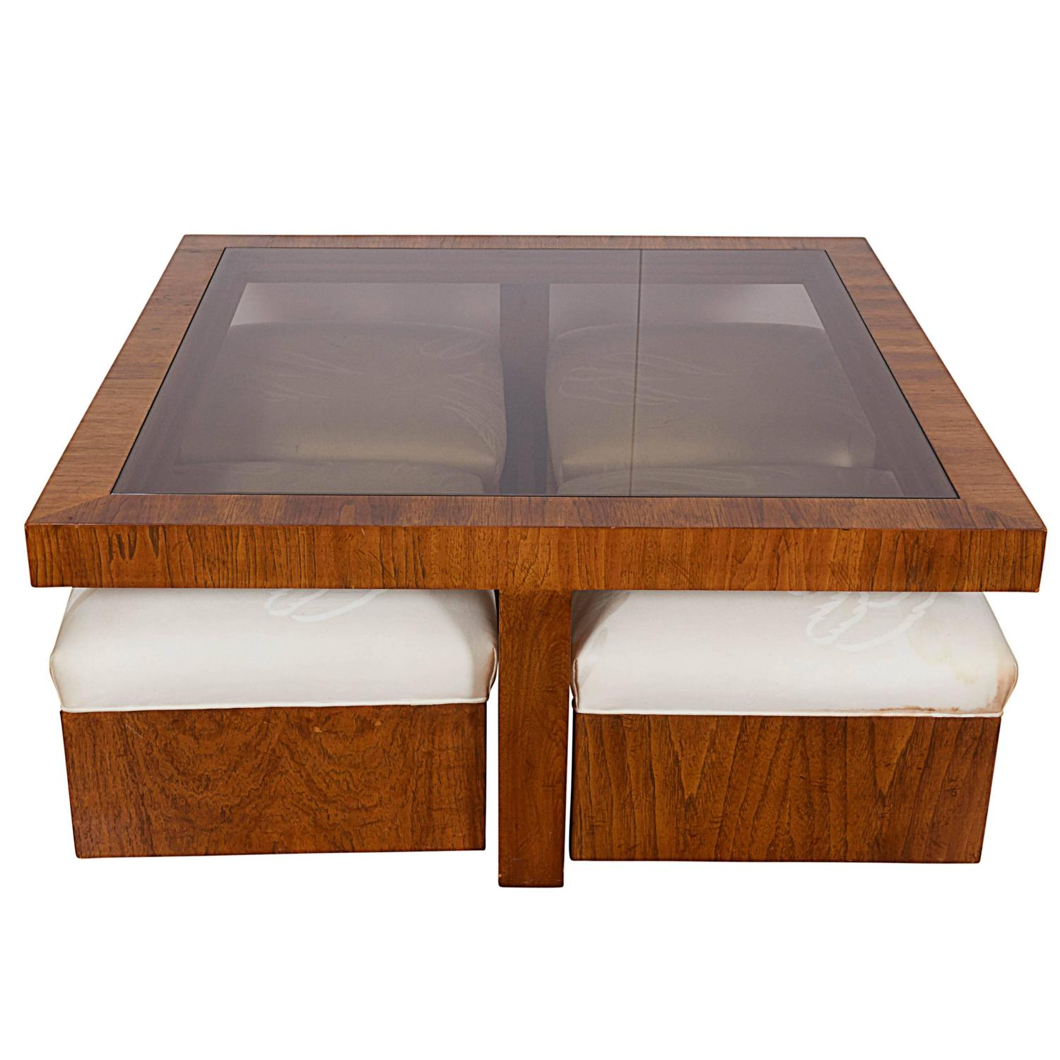 Glass Top Cocktail Table With Four Ottomans For Sale At 1stdibs