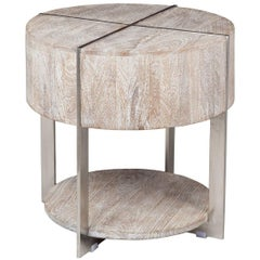 Round Mango Wood End Table