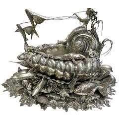 Magnificent Buccellati Centerpiece with Marine Life, Sterling Silver