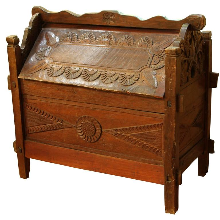 Hand Carved Ark Form Camphor Wood Trunk