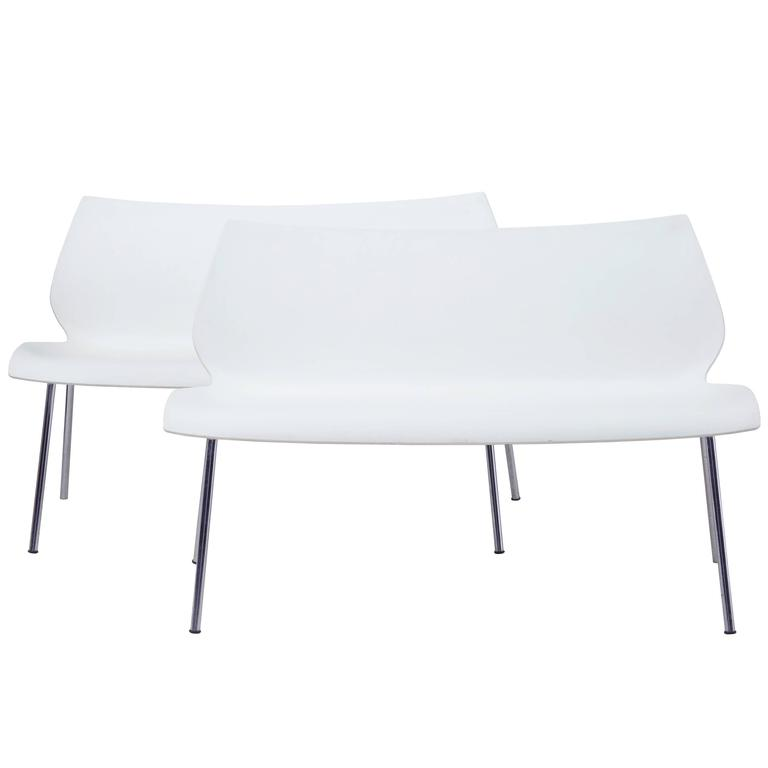 Pair of Italian White Benches by Vico Magistretti for Kartell
