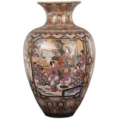 Japanese Gilded Brocade Satsuma Vase with Figures