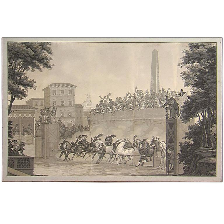 """""""Race of the Berbers - Start,"""" Grisaille Painting, 1800"""